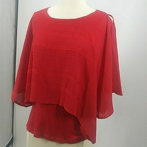 By & by red cold-shoulder tank w overlay-sz XS